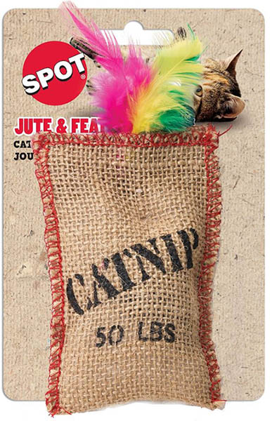 SPOT Jute & Feather Sack Catnip Toy 523078