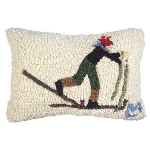 Chandler 4 Corners Back Country Skier 8x12 Pillow