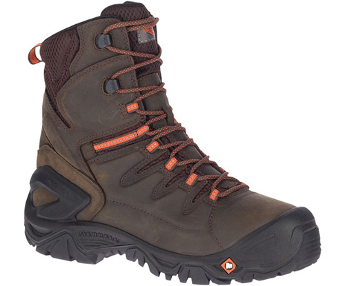 "Merrell Men's Strongfield Leather 8"" Thermo WP Comp Toe Work Boot - Wide"