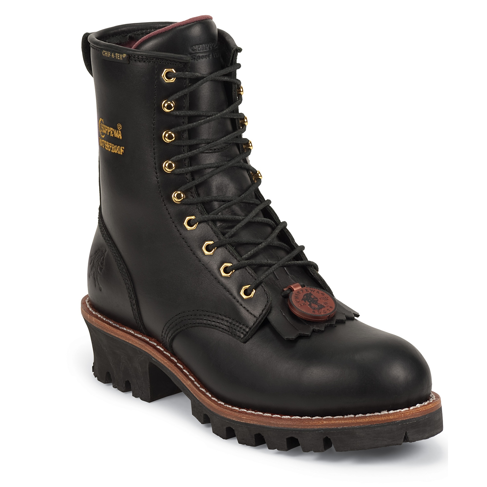 Chippewa 8-BLK Logger Plain Toe Insulated